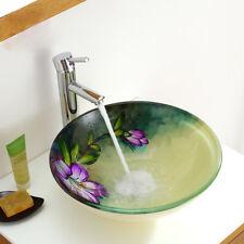 Handpainted Purple Flower Green Tempered Glass Artistic Vanity Vessel Wash Basin