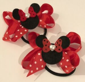 Beautiful Minnie Mouse Hair Bow Attached To A Bobble / Free Gift Bag 🐭🐭