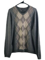 Banana Republic Sweater Mens Large Brown Extra Fine Merino Wool V Neck Argyle