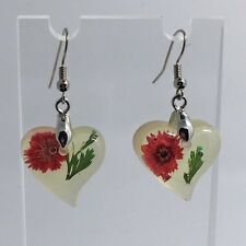 Large Red Green Real Flower Earrings Resin Cast  Bright Silver Plt D350 Heart