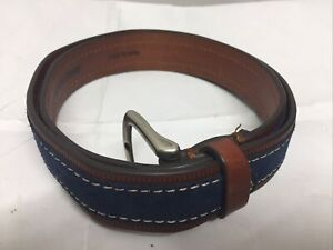 Johnston & Murphy Mens Italian Steerhide Leather Blue Brown Belt Size 36 75-7361