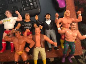 WWF LJN 80's Rubber Wrestling Figures WWE Titan Sports Lot of 6 Hogan Piper