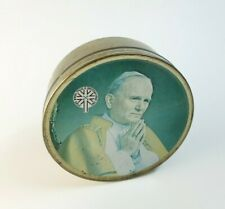 More details for vintage 80` john paul ii pope round storage sewing bits candy rare travel sweets