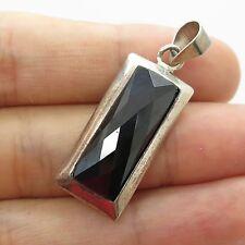 Vtg 925 Sterling Silver Large Faceted Black Onyx Gem Rectangular Pendant