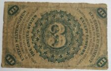 Fr. 1226 Fractional Currency 1863 Third Issue 3c Three Cents Note US Washington