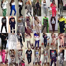Femme 2pcs SWEAT CAPUCHE SURVÊTEMENT PULL HAUT Set pantalon sport vêtement