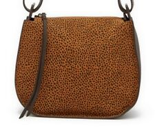 ALLSAINTS Calfskin Suede Leather Bag hobo brown black animal leopard print trend