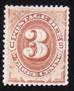 US Scott J3 old 3c Postage Due stamp brown M/NG CV $100