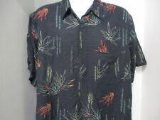 Marc Edwards Hawaiian Style Shirt, S/S, Black with Bamboo-Fronds, XL, 100% Silk