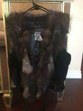 LOVE TOKEN gorgeous Rex rabbit Silver Fox fur Collar and leather vest size S