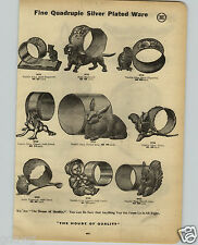 1914 PAPER AD Character Animated Figurine Napkin Ring Frog Cat Dog Dachshund