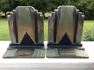 Antique Bookends Bradley Hubbard Art Deco Building Skyscraper Geometric Iron