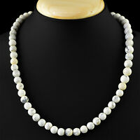 263.00 CTS NATURAL ROUND SHAPED RICH WHITE HOWLITE UNTREATED BEADS NECKLACE