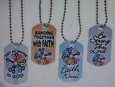 12 Faith CANCER AWARENESS Dog Tag NECKLACES All Cancer Colors FREE SHIP