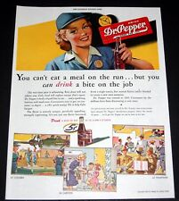 1943 WWII MAGAZINE PRINT AD, DR. PEPPER, YOU CAN DRINK A BITE ON THE JOB, ART!