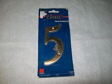"""NEW HAGER 5"""" SOLID BRASS HOUSE NUMBER - #5 - MODEL #00651"""