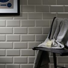 Gloss light grey metro bevelled edge ceramic wall tiles 10 x 20cm 1m² - 50 tiles