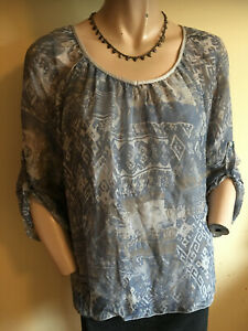 Piazza Roma ~ Boho Grey Print Layered Silk Top 3/4 Sleeves  Made in Italy Size M