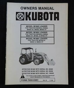KUBOTA M6950 M6950DT M7950 M7950DT M8950 TRACTOR M1840 M1850 M1860 LOADER MANUAL