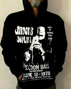 JANIS JOPLIN FREEDOM HALL ROCK HOODIES BLACK MEN's SIZES