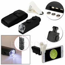 100X Optical Zoom Clip-on HD Microscope Camera Lens With light For Cell Phones