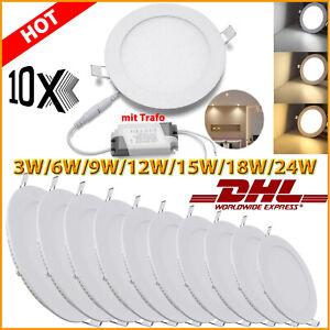 10x LED Panel Einbaustrahler Einbauleuchte Deckenleuchte Ultraslim mit Trafo DHL