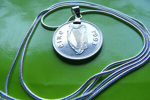 """Irish 1993 Harp Coin Pendant Necklace on a 24"""" 925 STERLING SILVER CHAIN"""