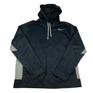 Nike Therma Fit Mens L Large Black And Grey Pullover Hoodie Training Top