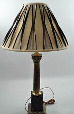 Westwood Hollywood Regency Brass Black Marble Corinthian Roman Column Table Lamp