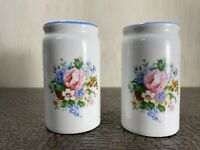 Vintage Ceramic White with Floral Design Salt and Pepper Shakers