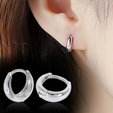 Womens Mens Small Round Huggie Hoop Earrings Fashion 925 Sterling Silver Plated