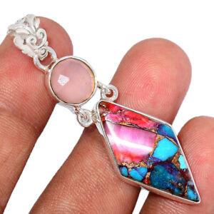 Kingman Pink Dahlia Turquoise & Rose Quartz 925 Silver Pendant Jewelry BP90183