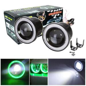 "2x 3"" LED Projector Lens Fog Driving Light Lamp Green Angel Eyes COB Halo Rings"