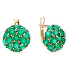 Earrings NEW Russian Solid Rose Gold 14K fine jewelry green stone chrysoprases