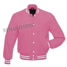 Varsity All Wool Letterman Bomber Style Baby Pink Baseball Jacket sizes XS ~ 7XL