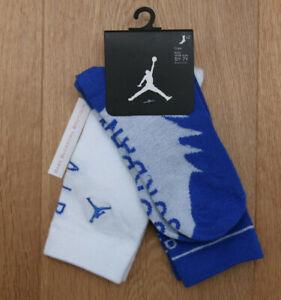 Air Jordan Boy 2 Pr High Crew Socks ~ Blue & White ~ 5Y-7Y ~ Sock Sz 9-11