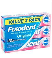 Denture Bonding Adhesive Fixodent Original Cream Secure Strong, 2.4 Oz, 3 Pack