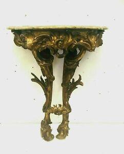 Console Louis XV en bois sculpté doré Plateau bois faux marbre XVIII siècle