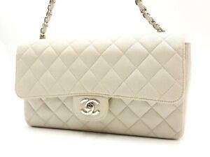 Auth CHANEL CC Matelasse 25 Single Flap Chain Shoulder Bag Canvas Ivory V-6105