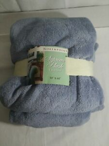 """NorthPoint Supreme Plush Throw Blue 50""""x60"""" NonPilingSuperSoft DurableSuppleCozy"""