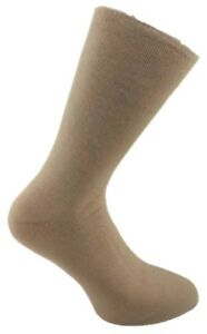 1 Pair Mens Beige Comfort Insulated Acrylic Thermal Bed Socks, UK Size 6-11