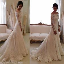 Custom Elegant Lace Wedding Dress White/Ivory Off The Shoulder Garden Bride Gown