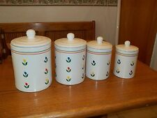 Ceramic Canister Set ~ 4 Canisters with Lids ~ Flower Design