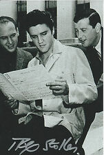 """Mike Stoller Signed 4x6 Jeffrey Leiber Elvis Presley """"Hound Dog"""" """"Stand By Me"""""""