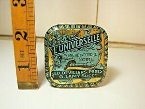 Rare French advertising Tin Ink Powder UNIVERSELLE 1900 Art Nouveau Blechdose