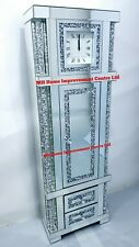 Diamond Crush Crystal Grandfather Clock  Cabinet 2 Drawers Sparkly Silver Mirror