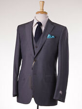 NWT $2395 CANALI 1934 Three-Piece Gray Check Year-Round Wool Suit 38 R (Eu 48)