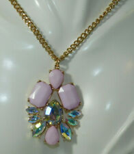 Pink AB Rhinestone Pendant Gold chain Necklace extender 7m 13