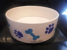 "NEW 57 oz. Pet Trends 8"" Diameter x 3"" Tall Ceramic Dog Bowl - BLUE PAWS"