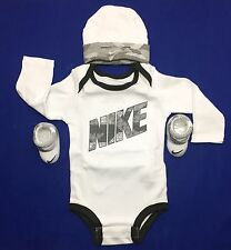 Air Nike Baby BOYS 3-peace Outfit Gift Set: Bodysuit, Booties & Cap 0-6 Months.